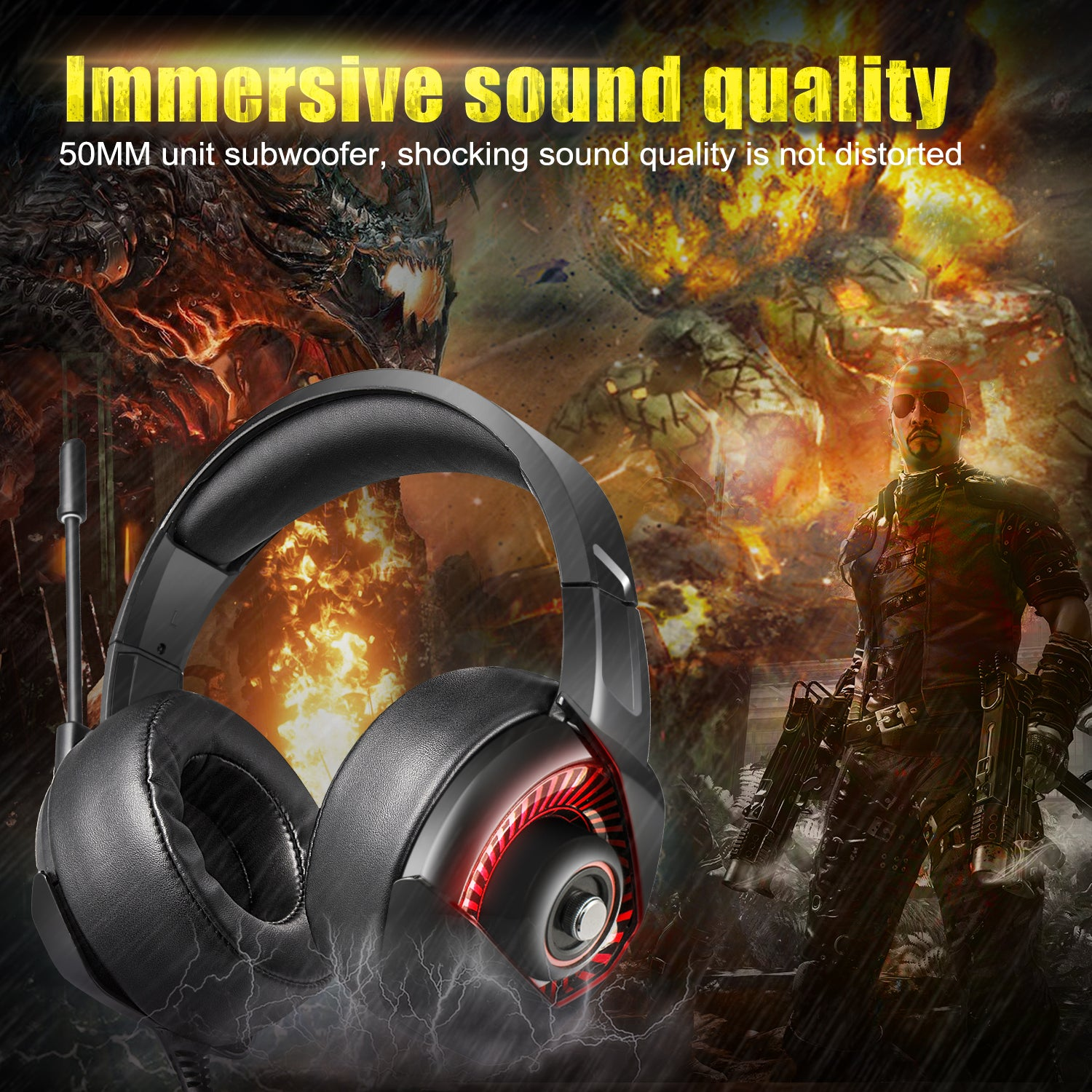 ONIKUMA K6 Gaming Headsets with Mic for PS4 Nintendo Switch PC Xbox