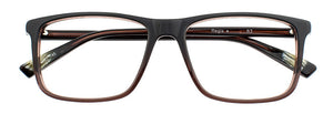 Front view of Regis prescription glasses frame in cola