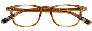 Front view of Richard prescription glasses frame in tea streaks