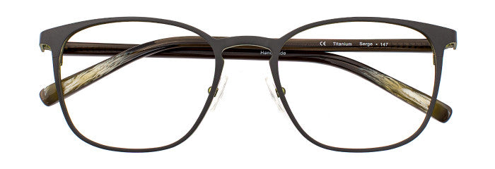 Front view of Serge prescription glasses frame in matte dark khaki