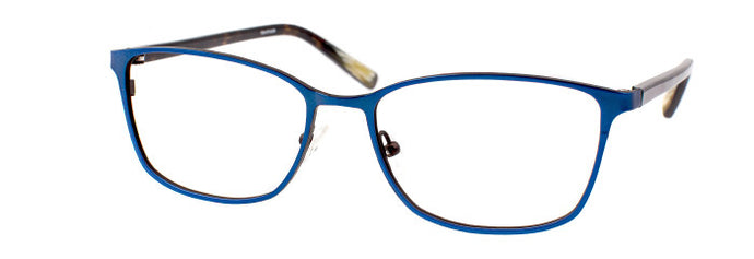 Side view of the Sintje prescription glasses frame in matte blue