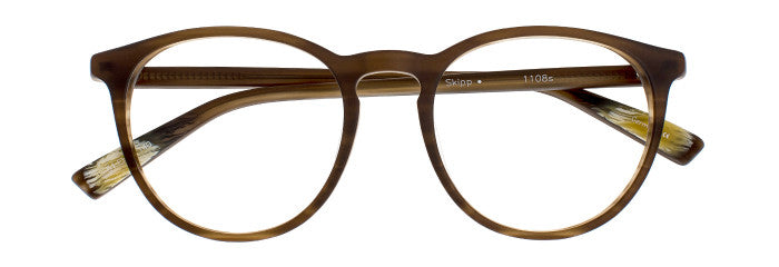 Front view of the Skipp prescription glasses in brown marble satin