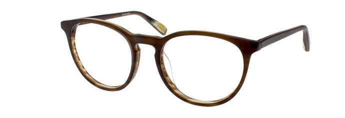 Side view of Skipp prescription glasses in brown marble satin