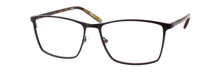 Side view of Stephen prescription glasses frame in matte black and brown