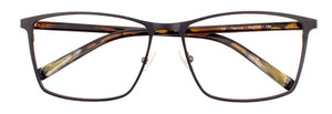 Front view of Stephen prescription glasses frame in matte black and brown