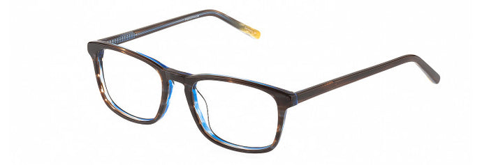 Side view of Vadim prescription glasses frame in brown and blue