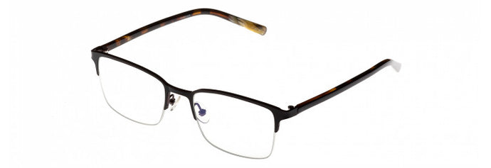 Side view of the Vincent prescription glasses frame in matte black and brown