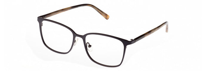 Side view of the Vladimir prescription glasses frame in dark brown and grey