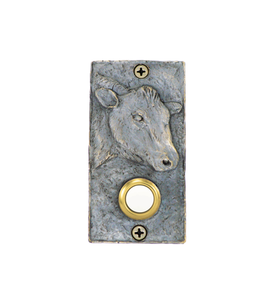 Rectangular Bronze Cow Doorbell - bright patina