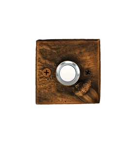 Square bronze doorbell plate with acorn in lower right corner