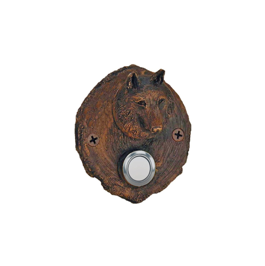 Log End Wolf Doorbell | Timber Bronze | Oregon
