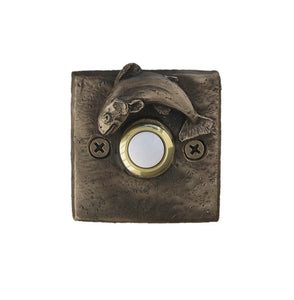 Square doorbell with trout - solid bronze