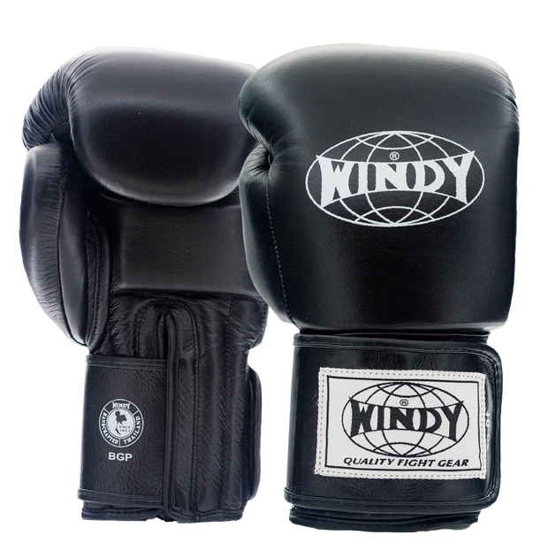 Proline Leather Boxing Gloves - Black - Windy Fight Gear