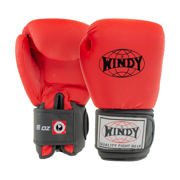Classic Synthetic Leather Boxing Gloves - Crimson Red - Windy Fight Gear
