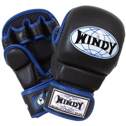 Windy MMA Hybrid Gloves - Blue Black - Windy Fight Gear