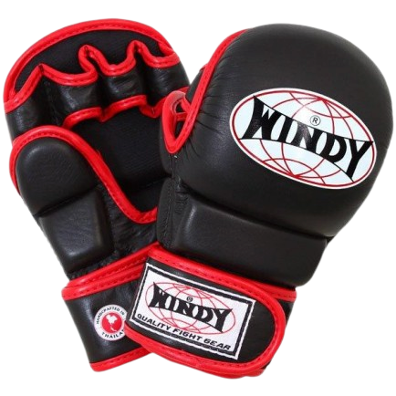 Windy MMA Hybrid Gloves - Red Black - Windy Fight Gear