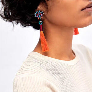 Bohemian Style Rope Tassel Drop Earrings