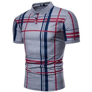 Men Casual Lattice Short Sleeve Different Frinting Grid Polo Shirt
