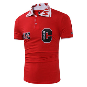 Men's Short Sleeves Letter Embroidery Design Casual Polo Shirt