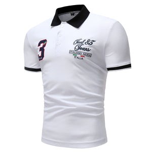 Men's Fashion 3 Digital Embroidery Casual Short Sleeve Polo Shirt