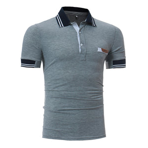 Men's Striped Collar Design Casual Short Sleeve POLO Shirt