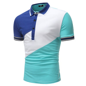 Men's Fashion Slant Casual Stitching Short-Sleeved Polo Shirt