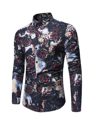 Men Retro Shirt with Floral Motifs