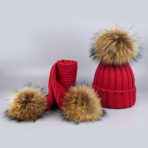 Knitted Fur Pompom Hat and Scarf Set for Children
