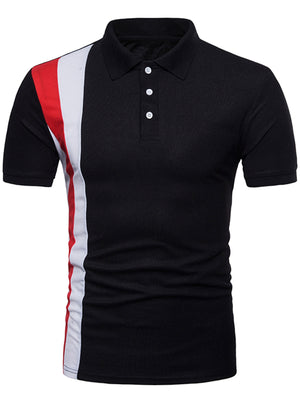 Vertical Striped Color Block Polo Shirt