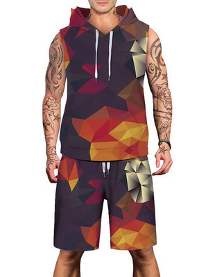 Geometric Pattern Sleeveless Hoodies Tank Top and Shorts