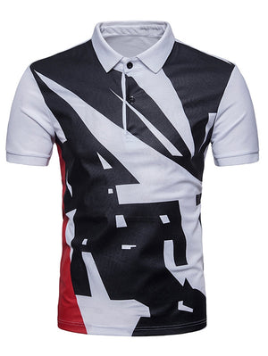 Geometrical Pattern Polo Collar T-shirt