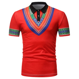 Short Sleeve Top Turn Down Collar Men Casual African Style