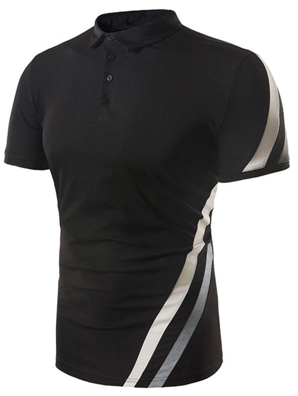 Oblique Stripe Print Four-button Placket Polo Shirt
