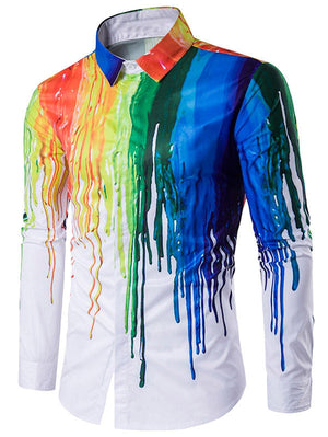 Hidden Button Paint Splatter Shirt