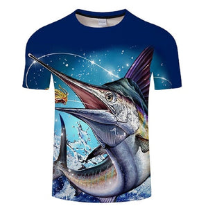 Fish printed men and women T-shirt