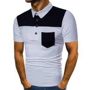 Men's Polo Turn-down Collar Short Sleeve Shirts with Buttons Men