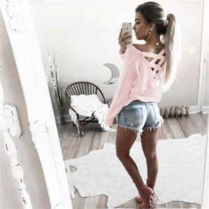 Women Loose Shirt Tops Casual Fashion Female White