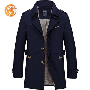Fashion Trench Coat Jaqueta Masculina