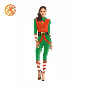 Belt Printed Jumpsuit Christmas Costume For Women