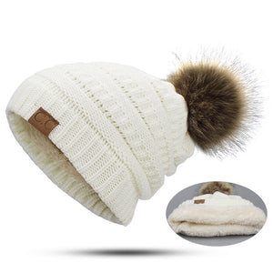 Woman Winter Hat Beanie CC Faux Fur