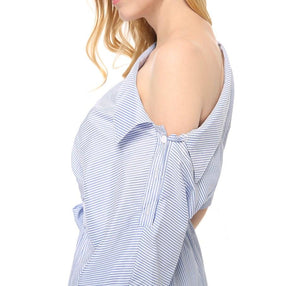 Women Dress Blue Striped Shirt Short