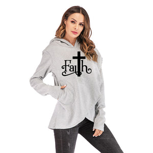 Large Size Faith Print Sweatshirt Hoodies