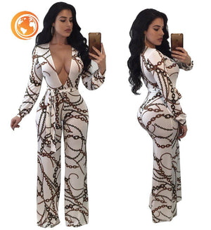 Rompers Womens Jumpsuit Printed  Ladies  Sexy Deep V Neck