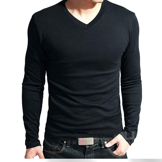 Sale spring high-elastic cotton t-shirts men's long sleeve v neck tight t shirt