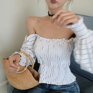 Women's Slash Neck Off-shoulder Top