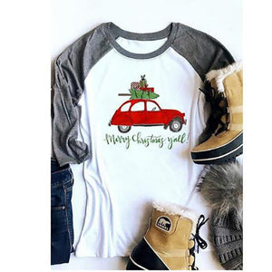 Women Christmas Tree Red Car Baseball T-Shirt