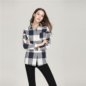 Plaid shirt female lapel print color matching shirt