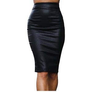 Women Sexy Skirt PU Leather Plus Velvet Comfort Bag Hip Skirt