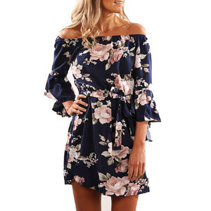 Sexy Off Shoulder A-Line Floral Print Chiffon Dress
