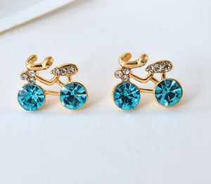 crystal Bike bicycle Cycle stud Earrings